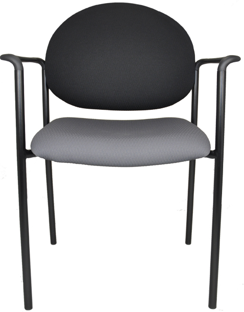 Stacking chair with arms, gray padded seat and black padded arms