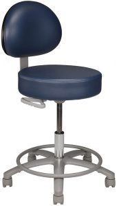 Medical or dental stool with back and footring