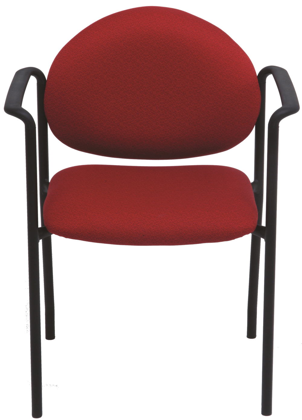 Red stacking chair with arms and black frame
