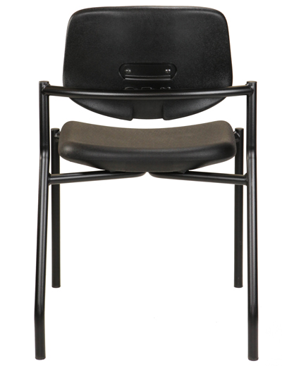 Hard-surface stackable medical lab chair, back view