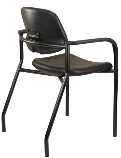 Black hard-surface hospital chair with arms