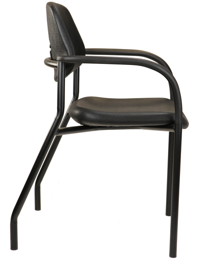 Hard-surface hospital chair with arms