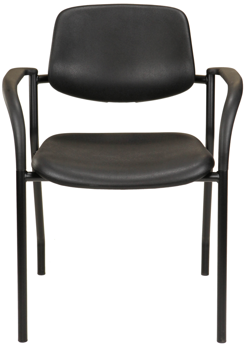 Black polyurethane chair with arms