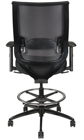 Nifty Stool with arms and mesh back, back view