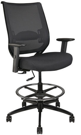 Nifty stool with arms and mesh back, front-angle view