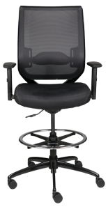 Nifty Stool with arms and black fabric seat