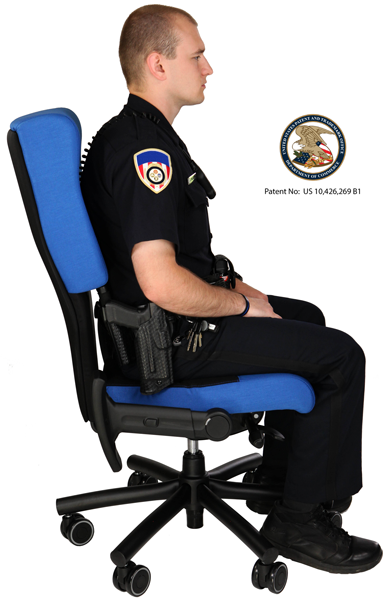 Police officer sitting in Shield Cop Chair. US Patent Seal
