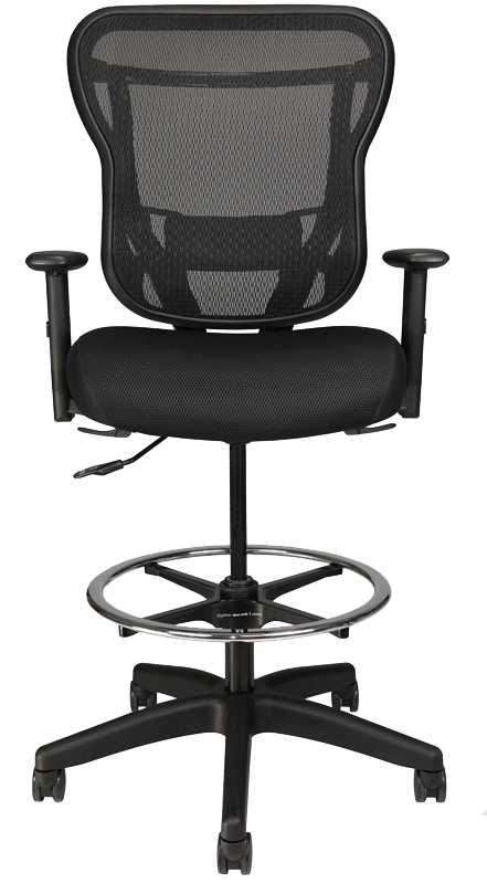 Rika Stool with arms, black fabric seat, and black mesh back