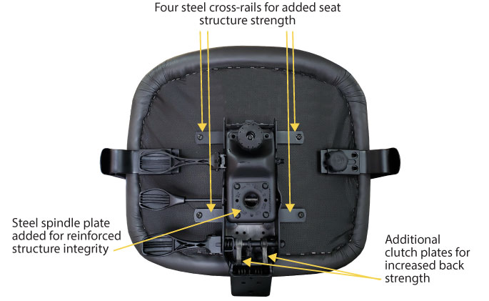 Bottom of chair seat shows rugged hardware