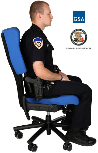 Police officer sitting in Shield Cop Chair shows extra room for gun belt