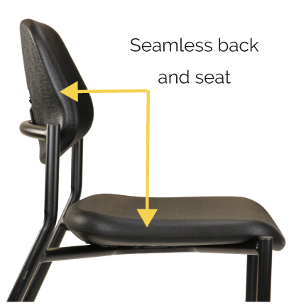 Urethane lab chair has seamless back and seat for thorough disinfecting.