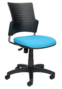 Snap Chair With perforated plastic back and upholstered teal seat