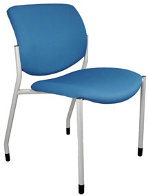 Blue armless office chair without wheels