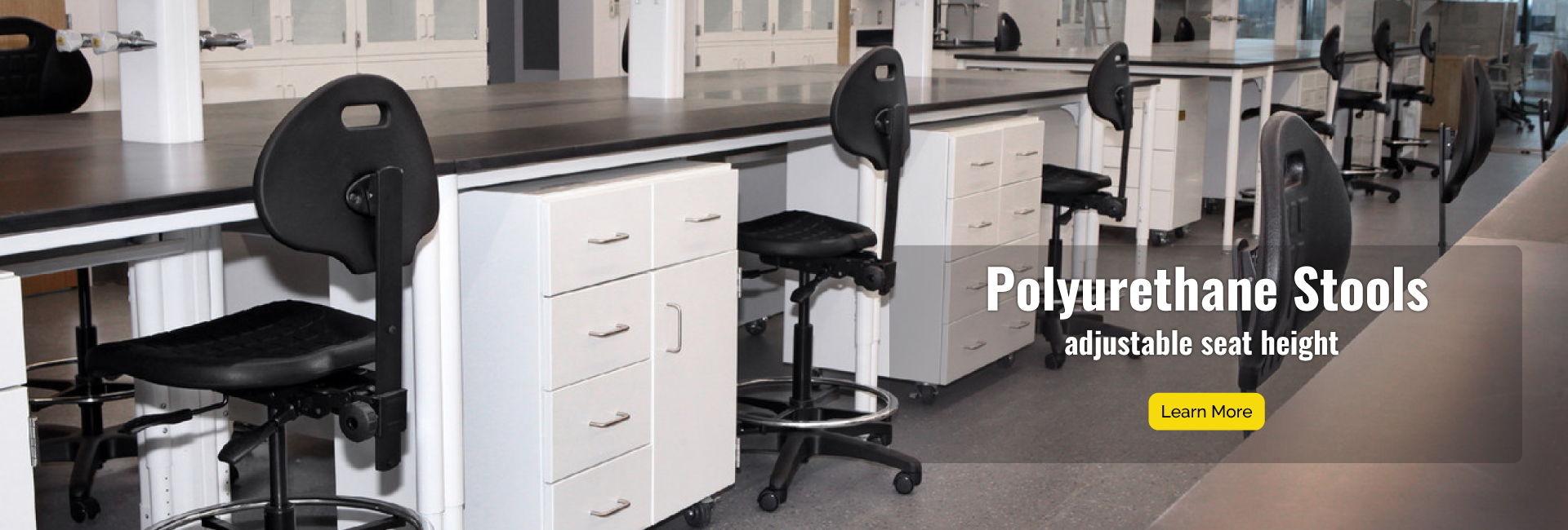 Polyrurethane Stools have adjustable seat height and depth