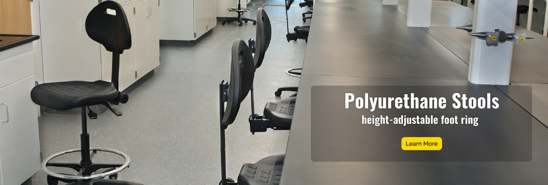 Polyrurethane Stools have adjustable-height footring