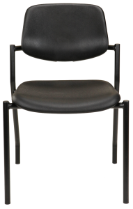 Black armless urethane chair for doctor's office, hospitals and industrial environments