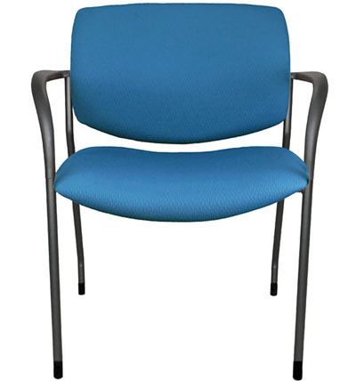 Jem stackable wide side chair with arms, shown in blue