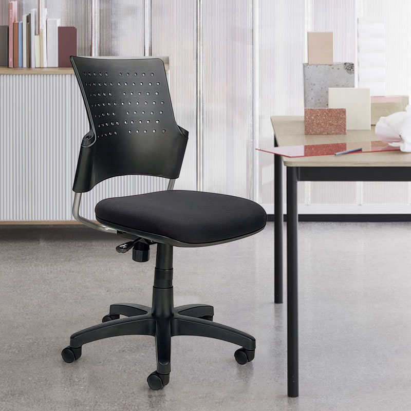 Small black armless chair with wheels