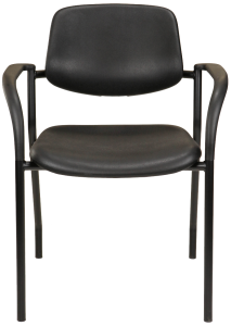 Black polyurethane chair with arms, for medical and lab applications