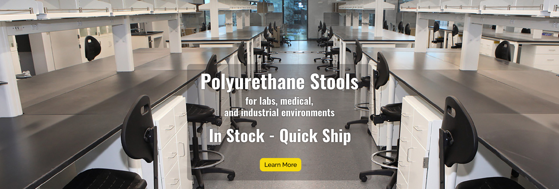 Polyurethane lab or industrial stools are in stock and ship quickly