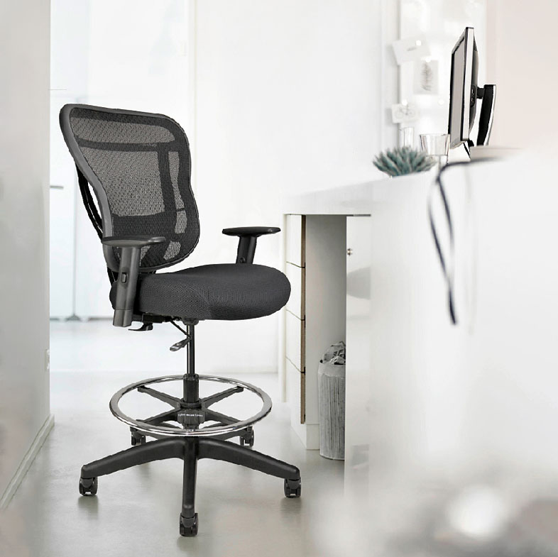 Drafting Chair with mesh back and extra-thick seat cushion