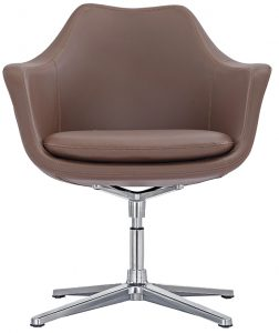 Brown leather side chair
