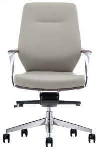 Midback Gray Leather Office Chair
